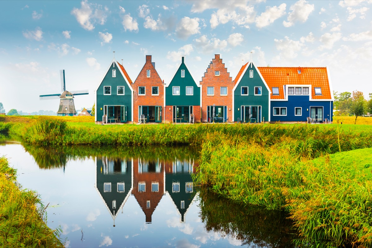 colorful houses and windmills in holland
