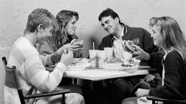 Two Couples in the 1980s Out on a Group Date Eating Burgers Cost of a Date