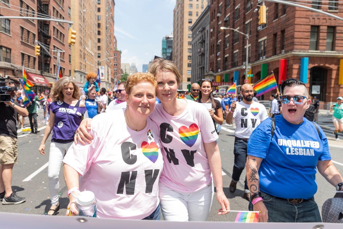 cynthia nixon and wife christine marinoni at new york city pride parade