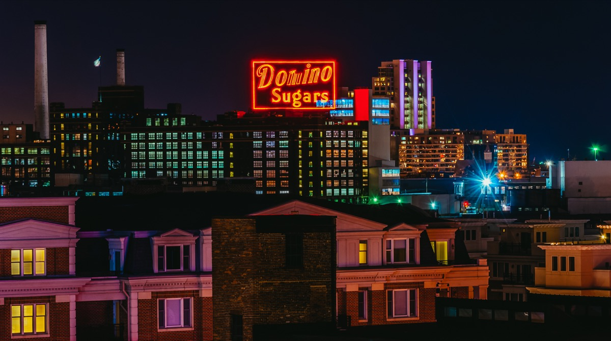 domino sugars neon sign, maryland, iconic state photos