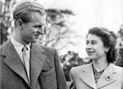 a young prince philip and queen elizabeth, shortly after engagement in 1947