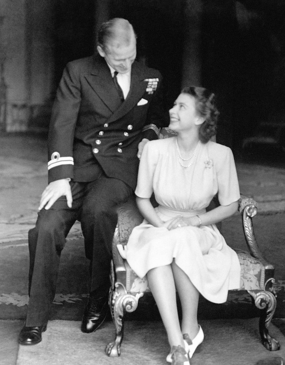 Princess Elizabeth and Lieutenant Philip Mountbatten announcing their engagement at Buckingham Palace in London in 1973