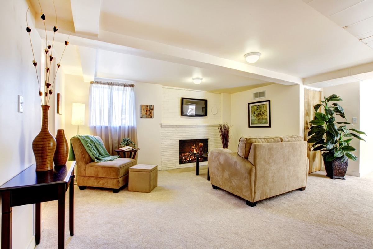 finished basement with curtains interior design tips