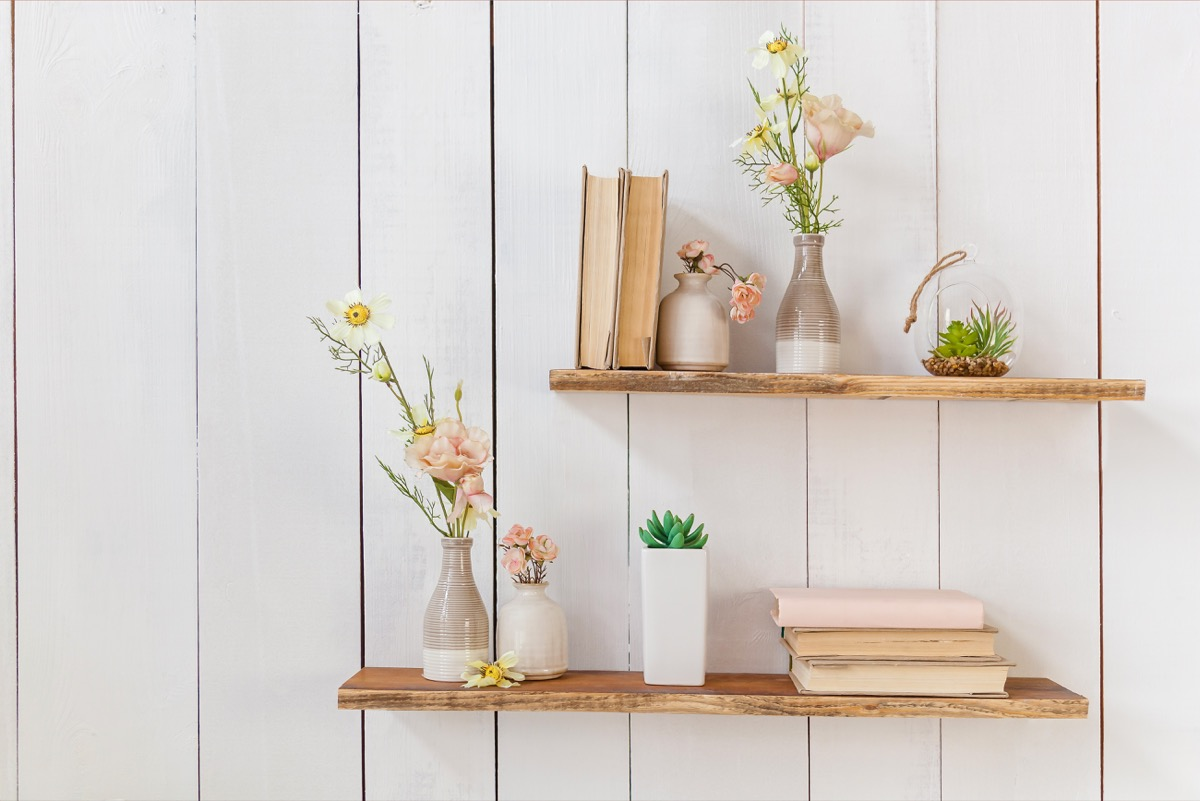 floating shelves on wall