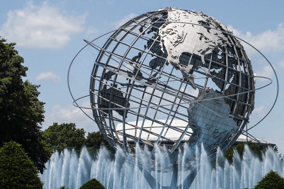 flushing meadows park sphere, new york, iconic state photos
