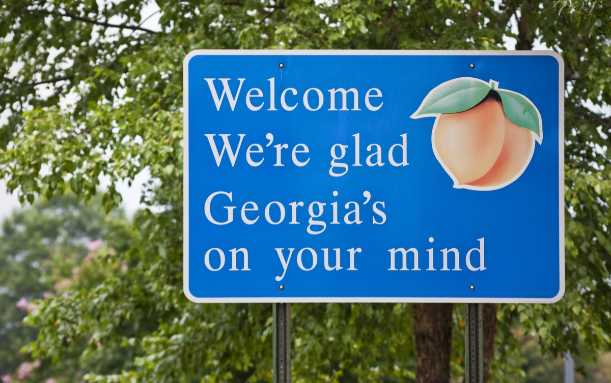 georgia state welcome sign, iconic state photos