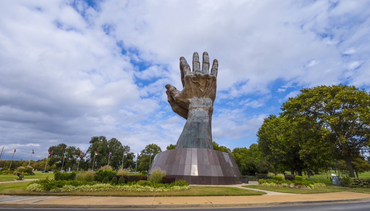 giant praying hands oral roberts university in oklahoma, iconic state photos