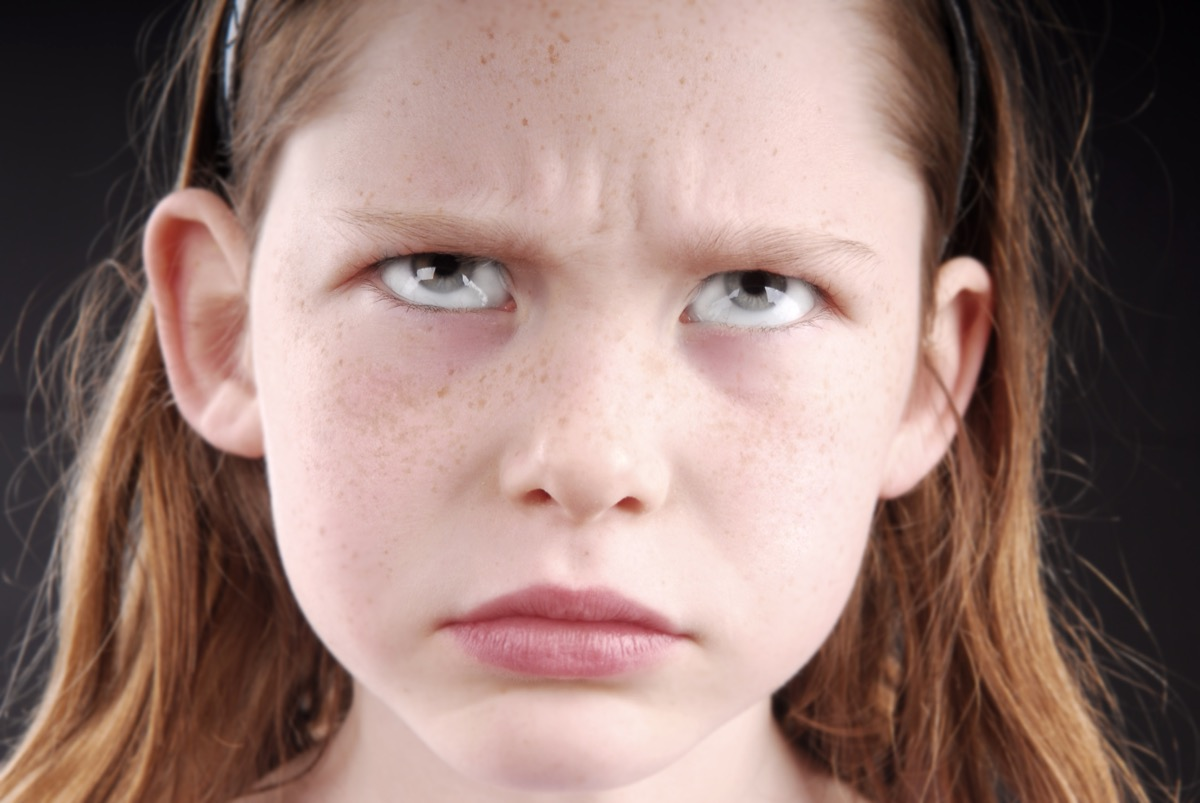girl with furrowed brows and glabella names of everyday items
