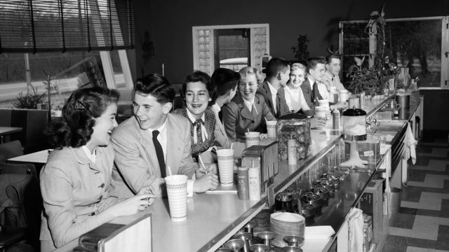 A Group of Kids on a Date Eating Food in the 1950s Cost of a Date
