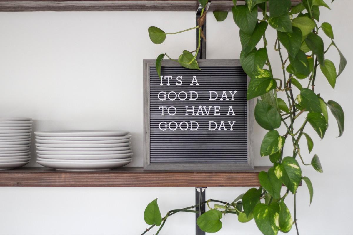 letter board on shelf in home
