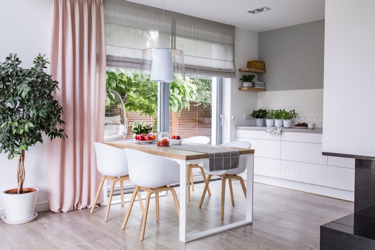long kitchen curtain in pink