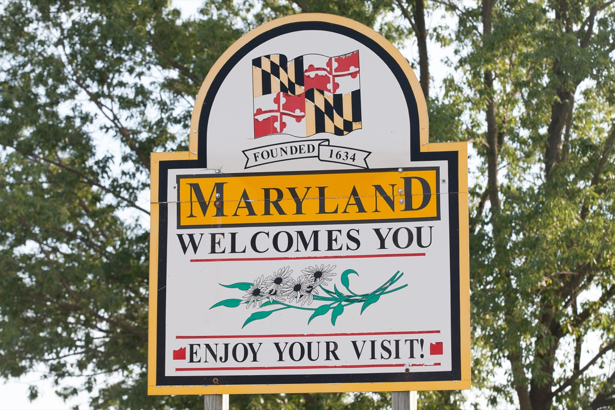 maryland state welcome sign, iconic state photos