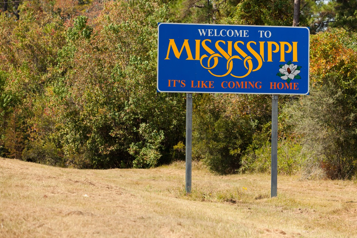 mississippi state welcome sign, iconic state photos
