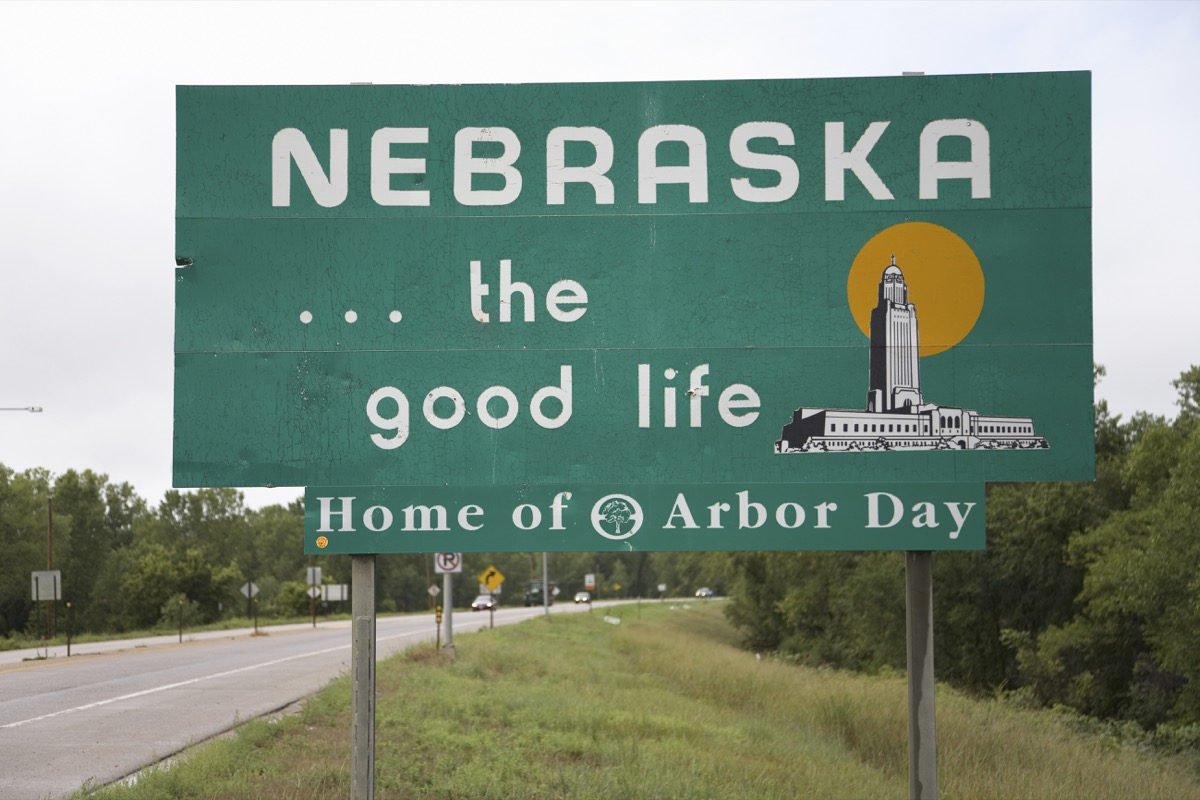 nebraska state welcome sign, iconic state photos