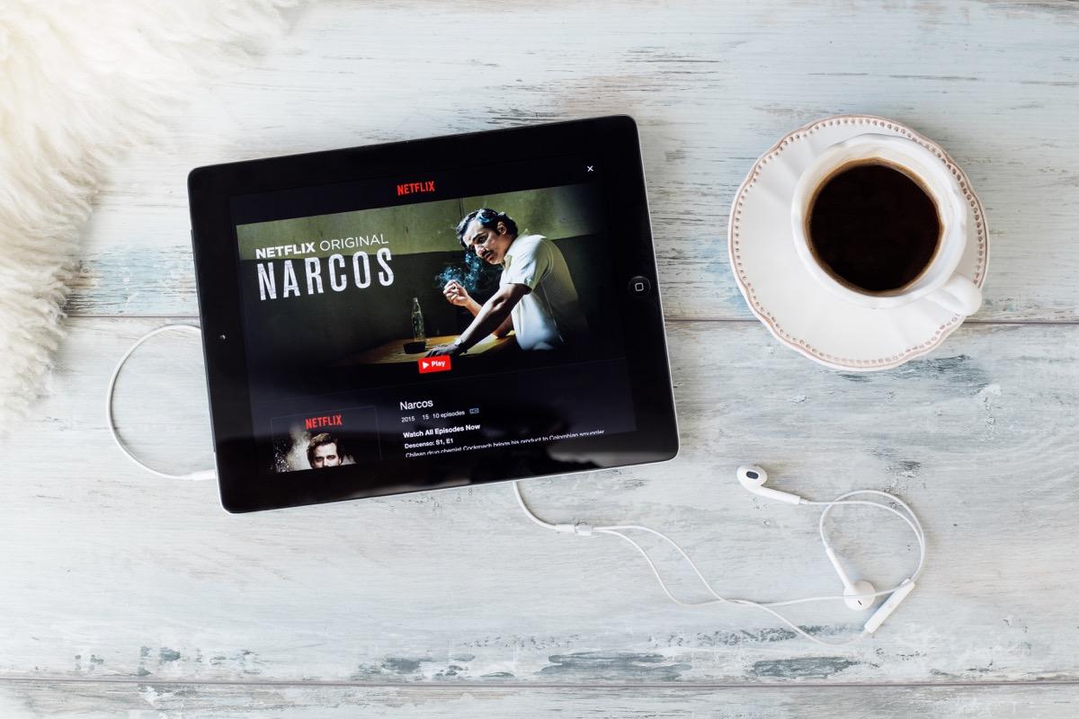 netflix show tablet on table, narcos, netflix secrets