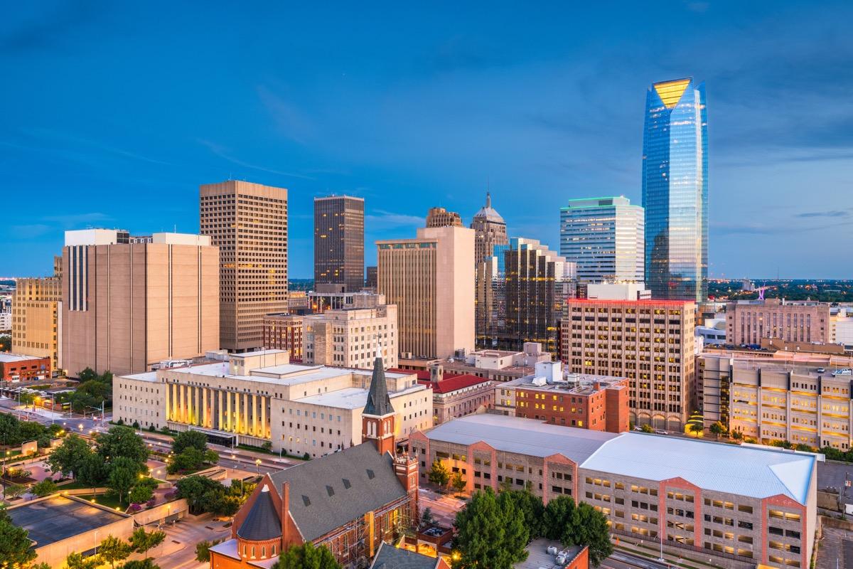 oklahoma city skyline state capitol buildings