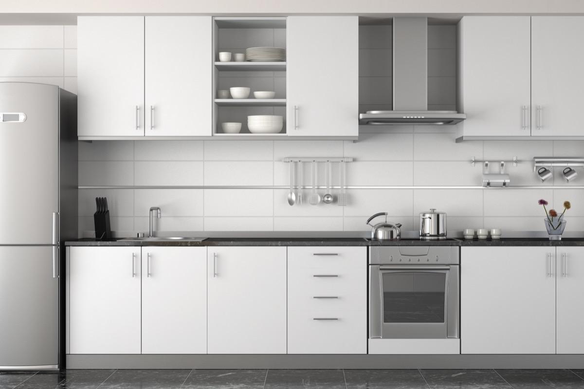 open kitchen cabinet door concept
