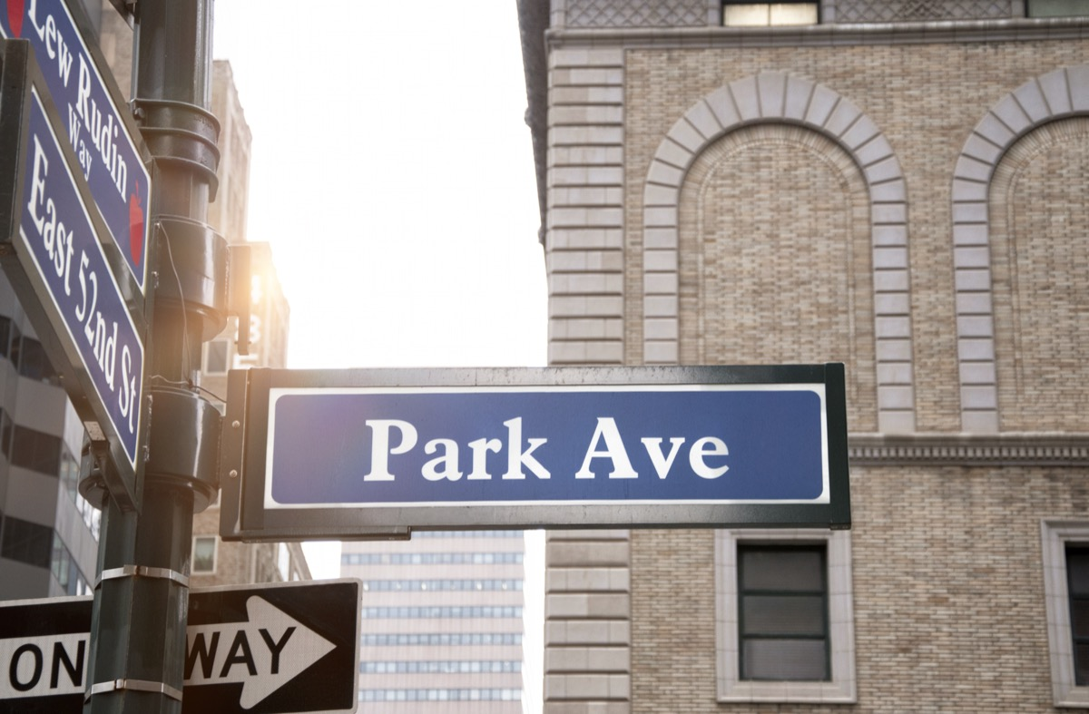 park avenue in nyc new york manhattan, most common street names