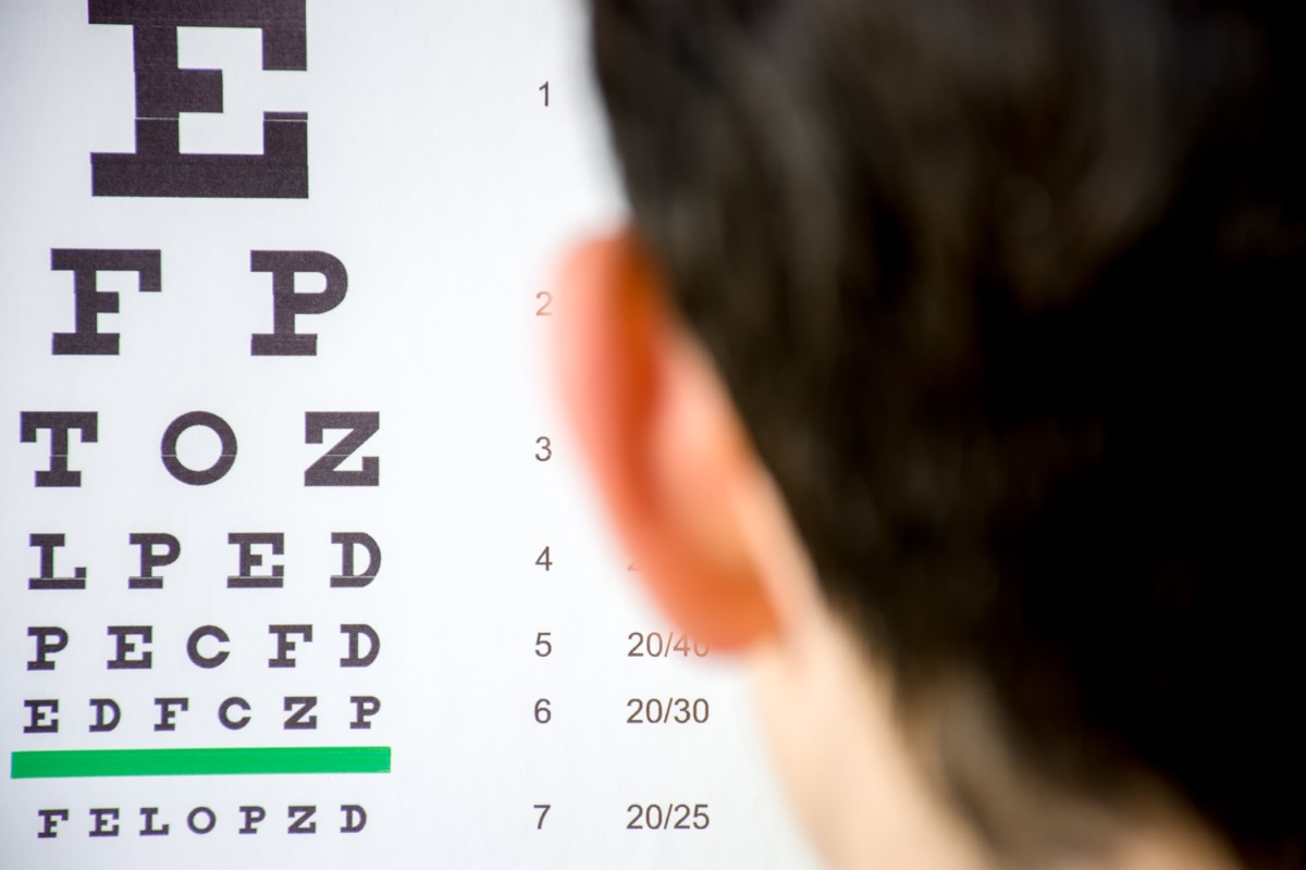 person looking at snellen chart names of everyday items