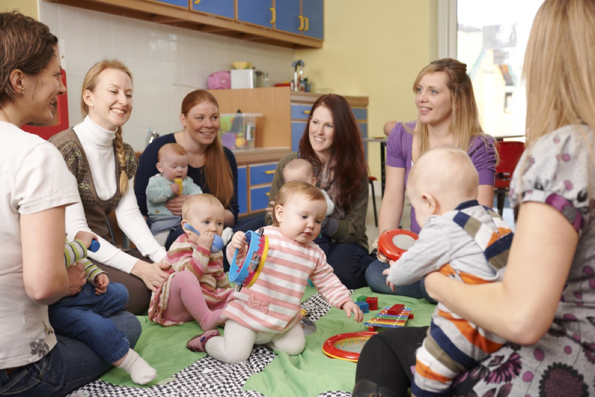 women with babies at playgroup, stay at home mom