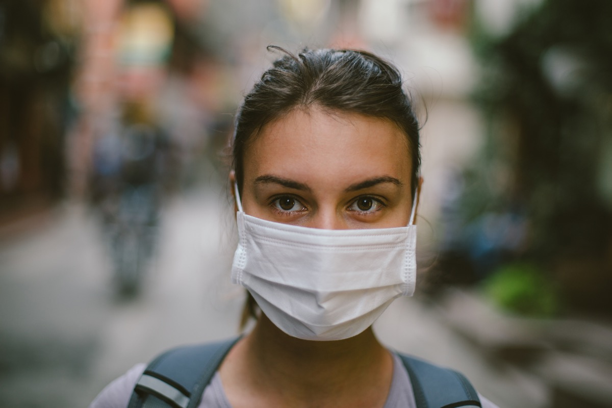 young woman wearing face mask because of pollution, earth day charities