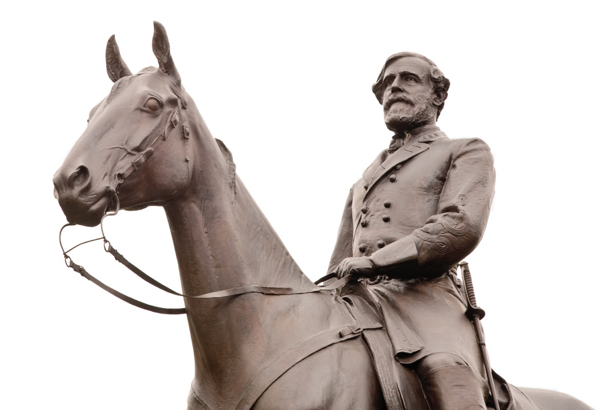 robert e lee, general statue, most common street names