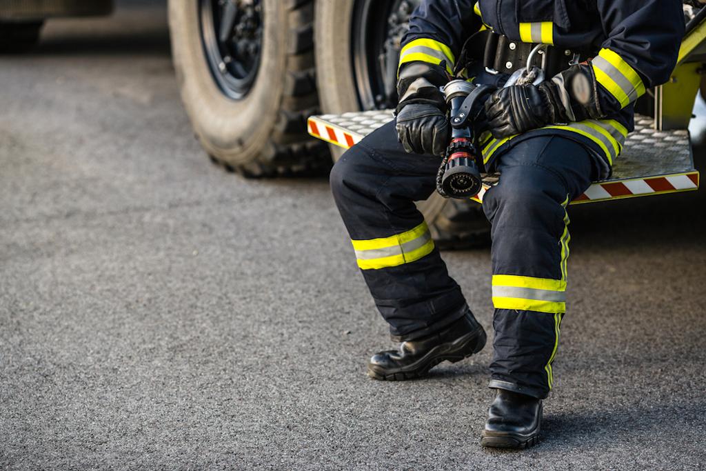 closeup of firefighter sitting