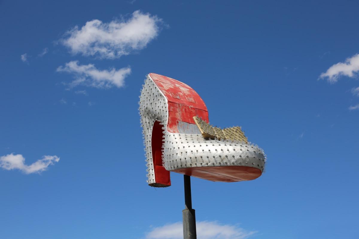 silver slipper near neon graveyard, nevada, iconic state photos