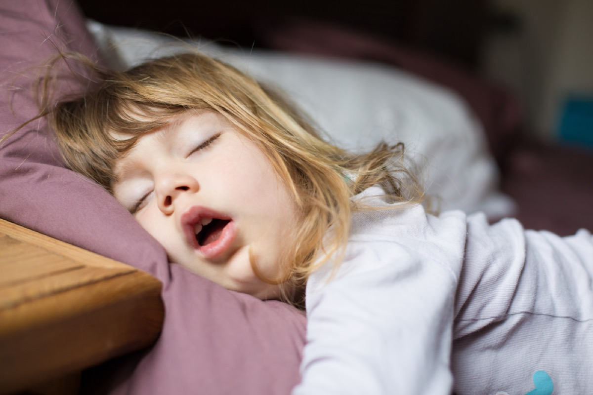 little girl asleep in bed, stay at home mom