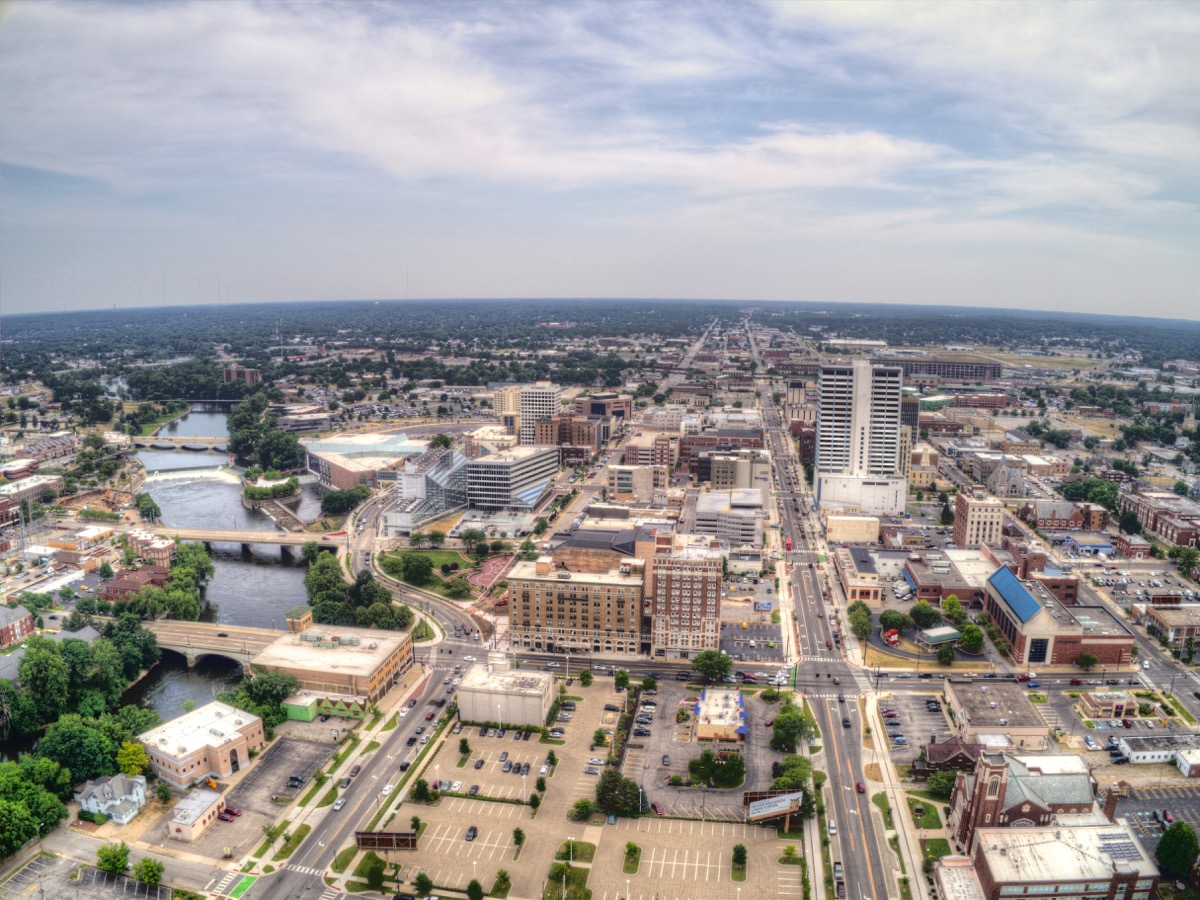 south bend indiana aerial scene, heart attack cities