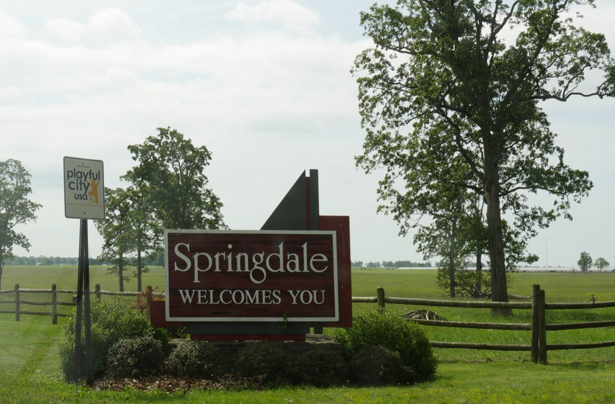 sign for springdale arkansas, heart attack cities