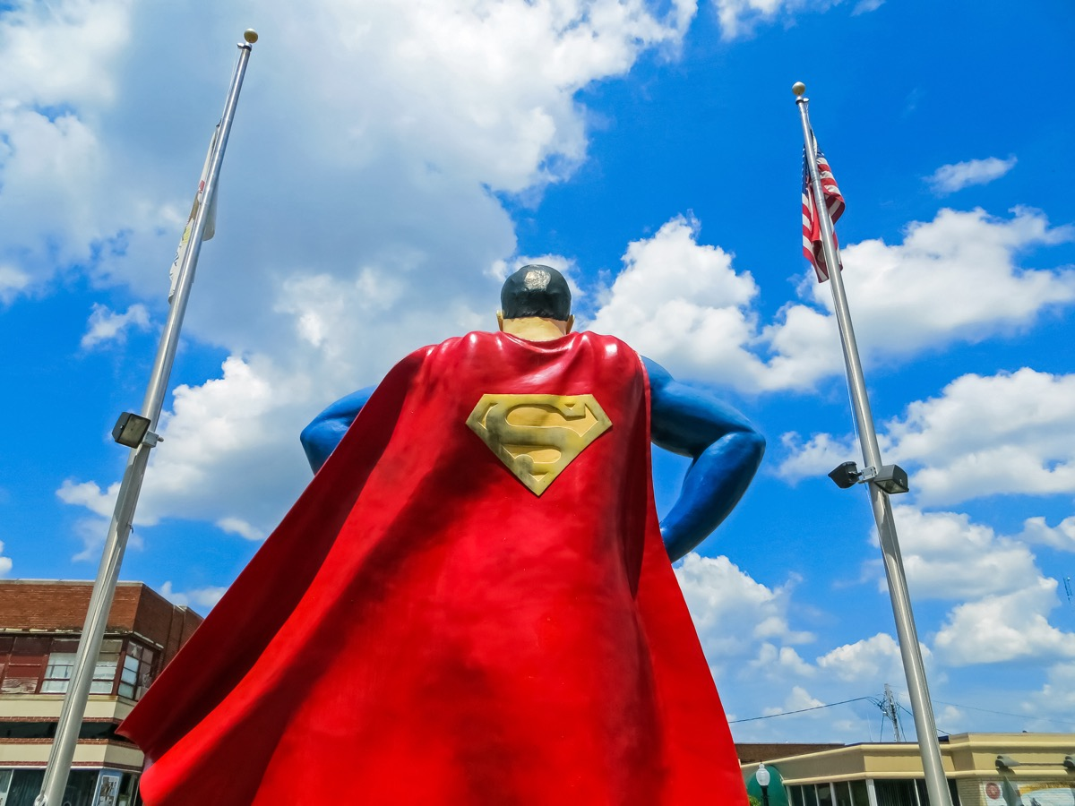 superman metropolis statue, state iconic photos