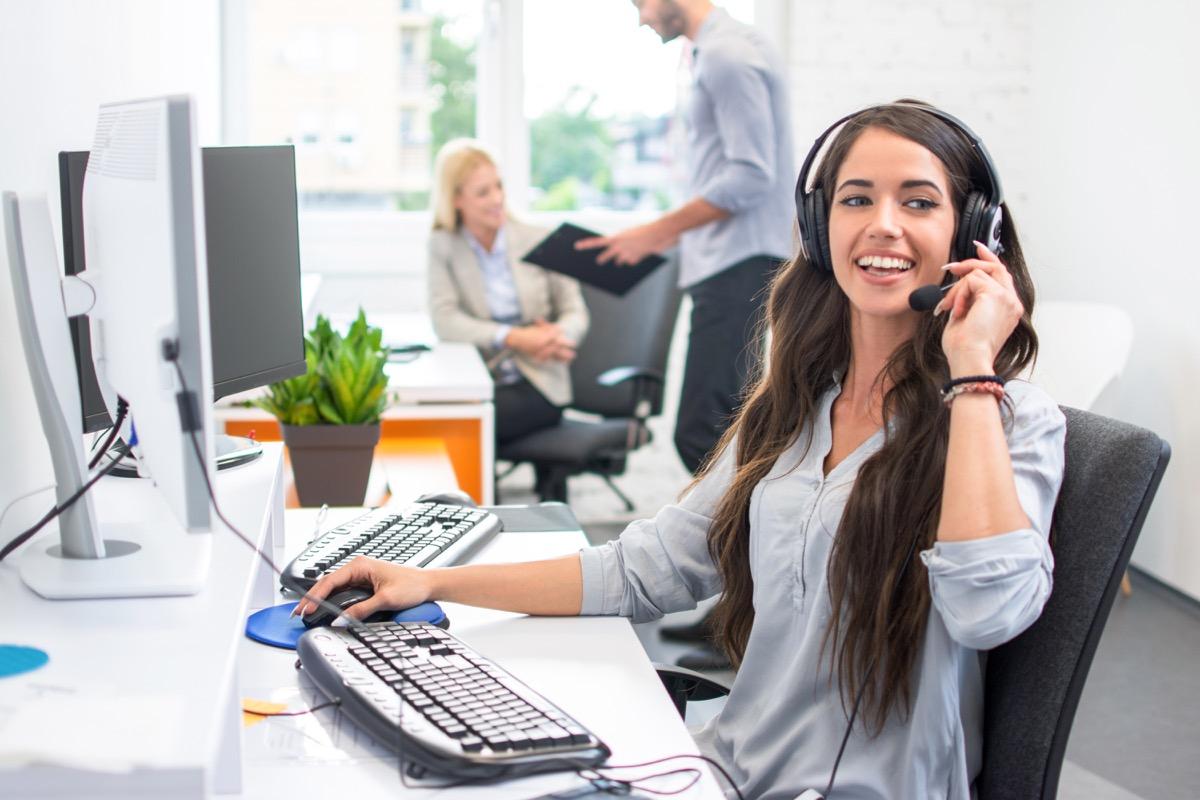 telemarketer smiling on phone call, telemarketer secrets