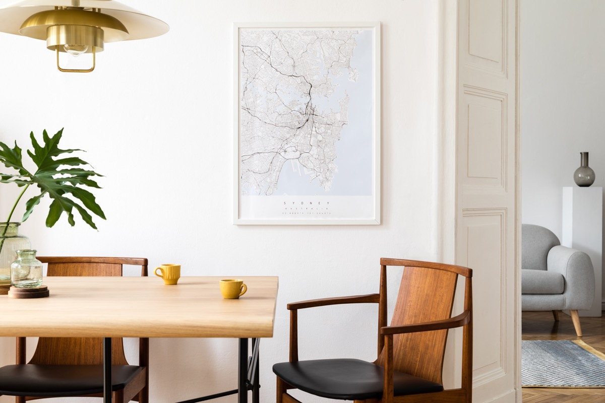 travel map in the kitchen space