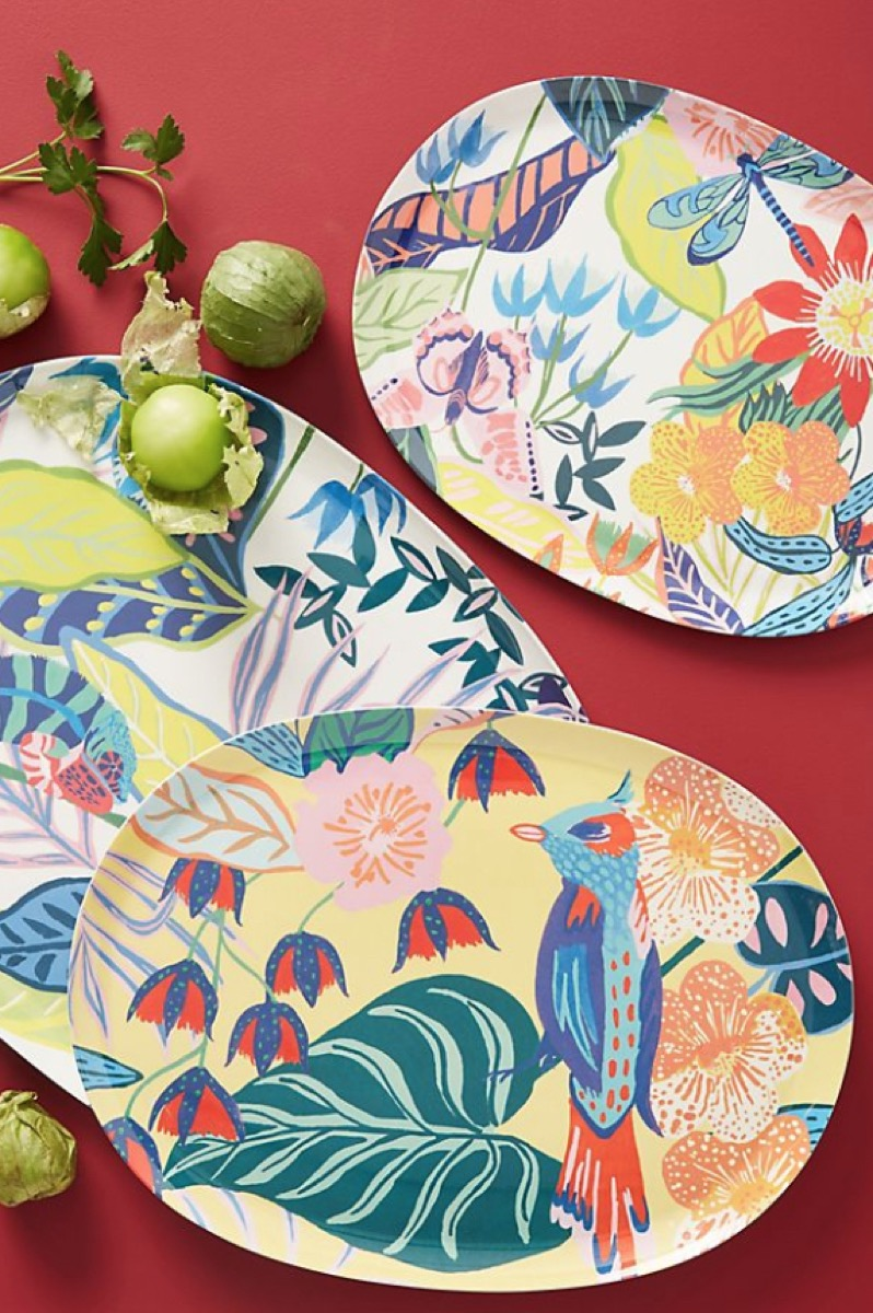 tropical melamine platters from anthropologie