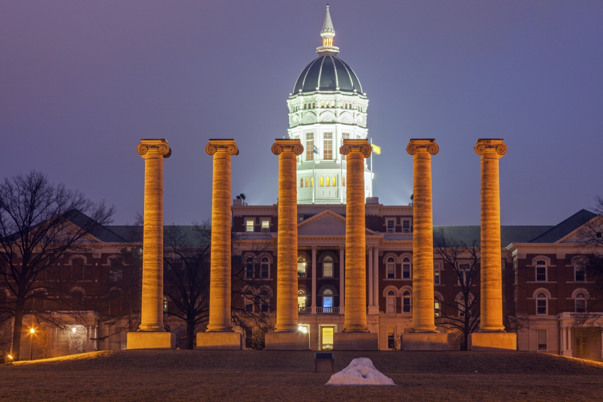 columns in front of university of missouri, iconic state photos