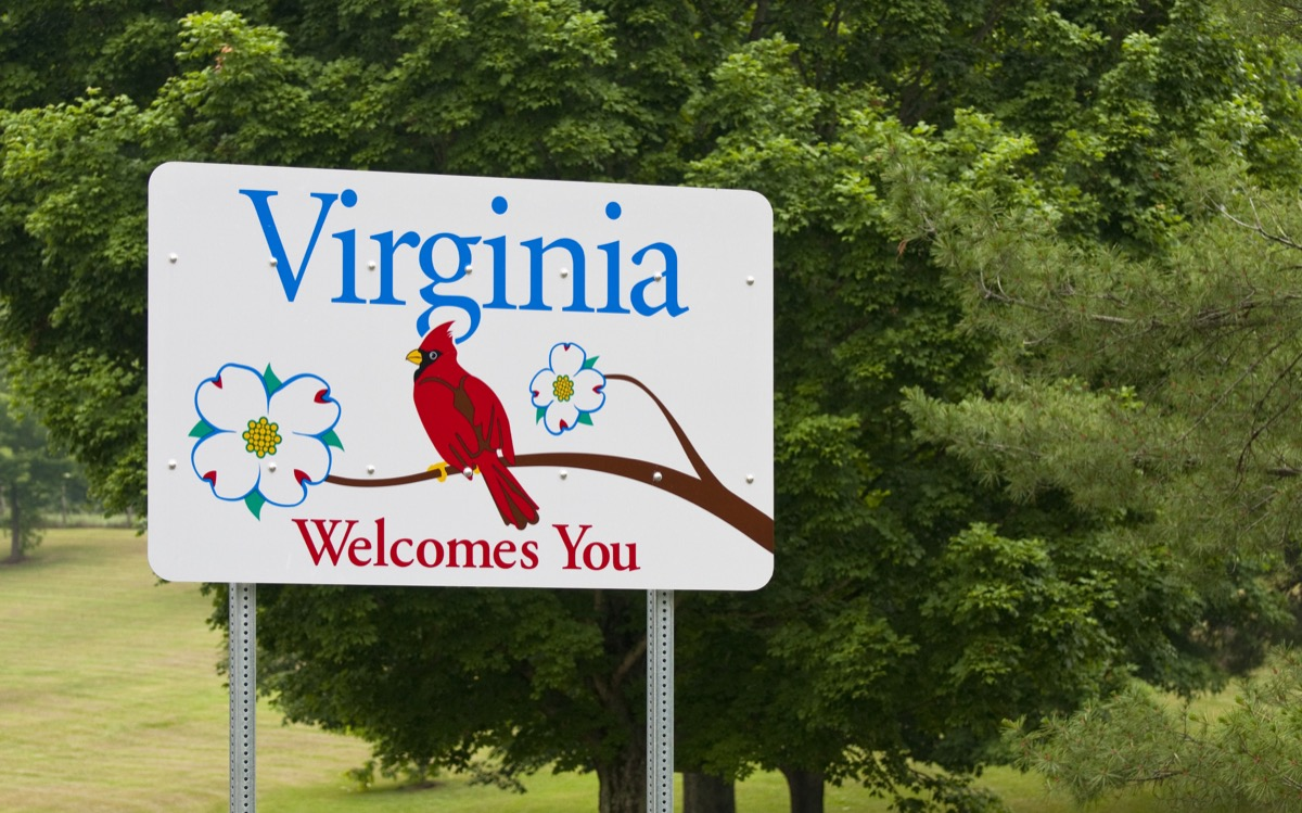 virginia state welcome sign, iconic state photos