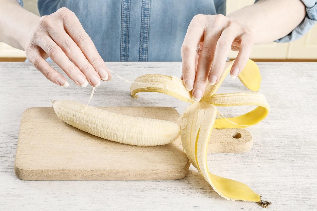 woman peeling banana with phloem bundles names of everyday items