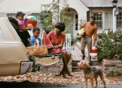 1970s family road trip in car