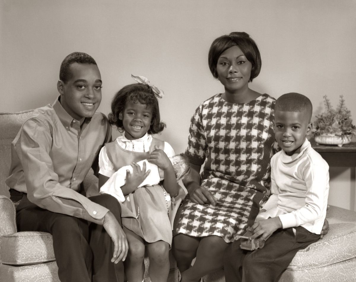 1960s black husband, wife, and their three kids, shows how different parenting was in the 1950s