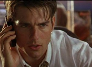 Tom Cruise on phone as Jerry Maguire, lowest no. 1 movie