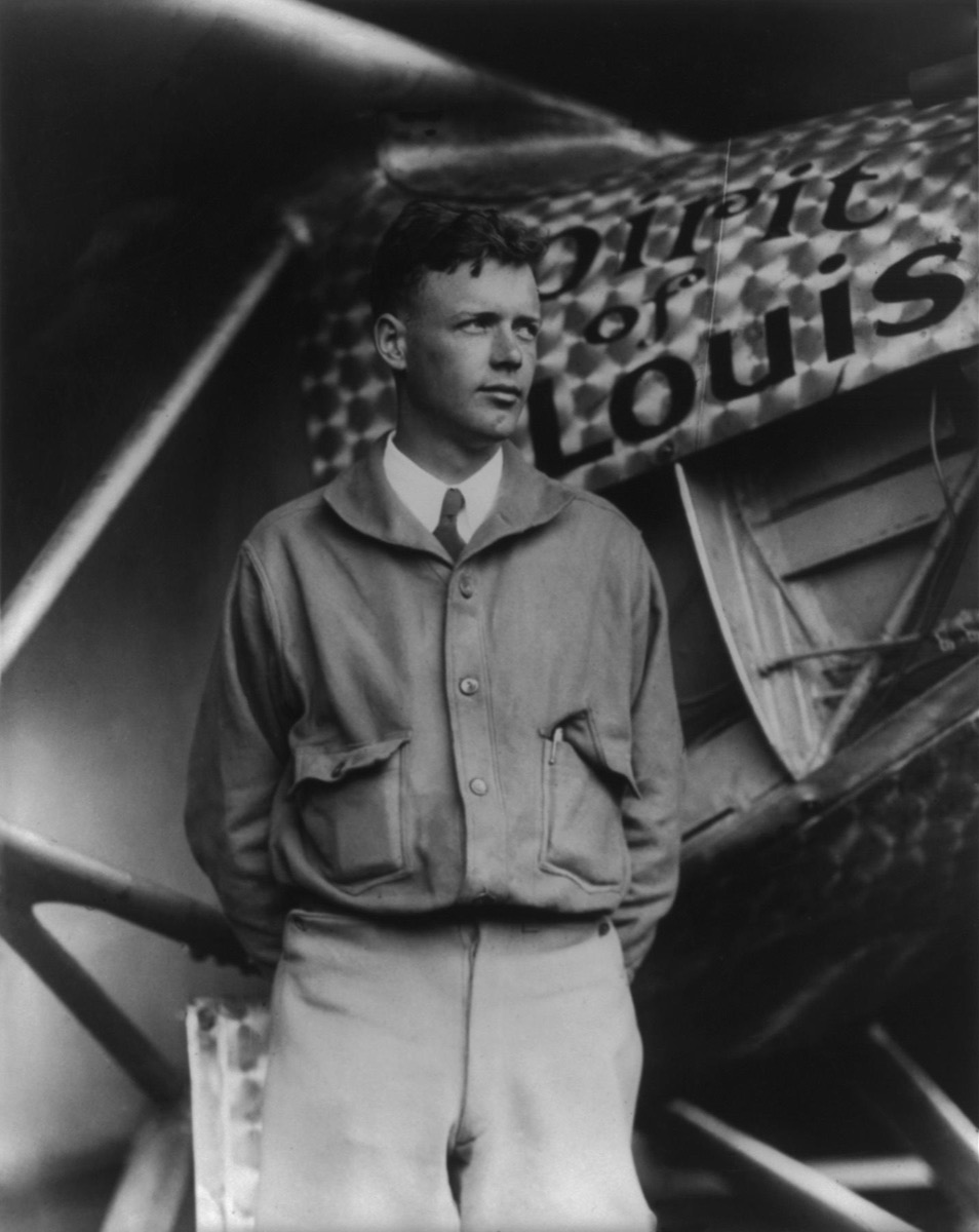 Charles Lindbergh, at Le Bourget Airport, Paris, with Spirit of St. Louis, May 31, 1927.