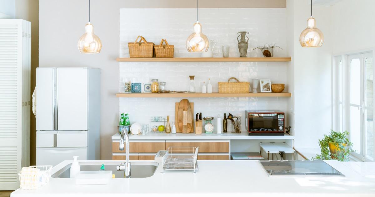 Kitchen with Open Shelving Storage, interior design mistakes
