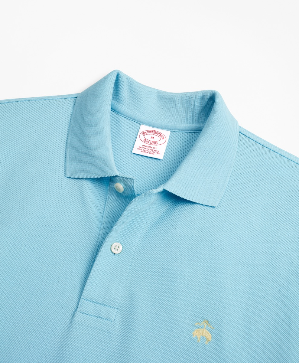 pale blue supima cotton performance polo from brooks brothers