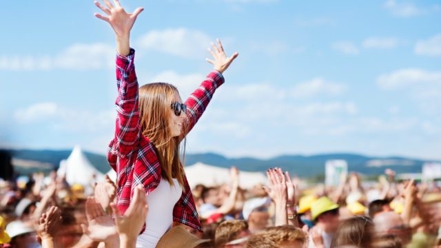 Crowd at summer music festival