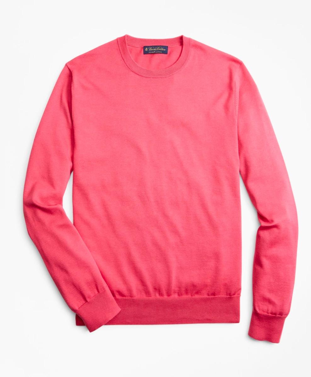fuschia supima cotton crewneck sweater from brooks brothers