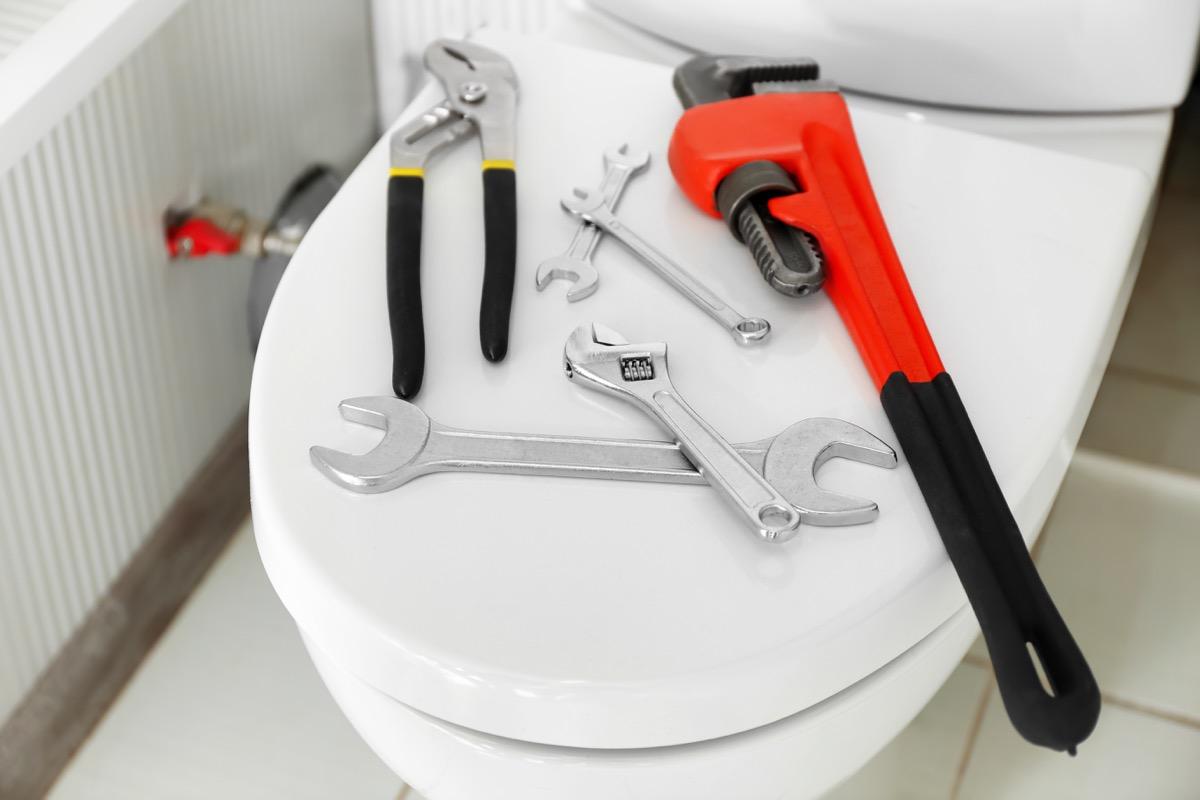 Tools to fix toilet