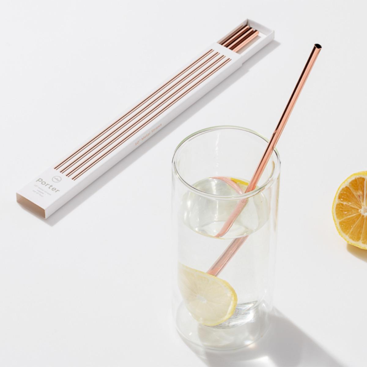 W&P design metal porter straws in copper