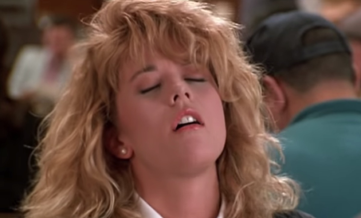 Meg Ryan throws head back while faking orgasm, things hollywood gets wrong about sex