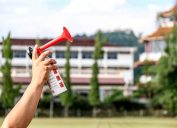 air horn being pressed, safety tips